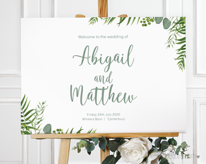 Modern Foliage Wedding Welcome Sign Template