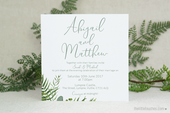 Forest Leaves Evening Wedding Invitations