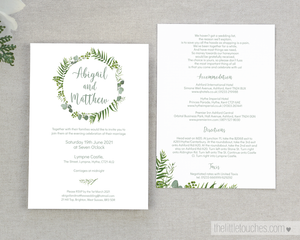 Greenery / Foliage wedding invitation printable template