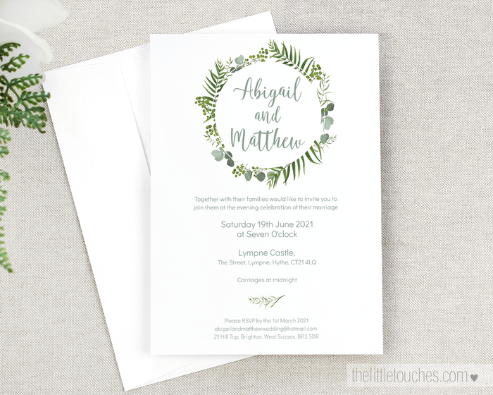 Forest Leaves Printable Single Wedding Invitation