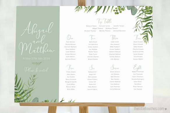 Forest Leaves Wedding Table Plan - Landscape