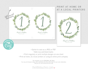 Foliage Leaves Personalised wedding table numbers