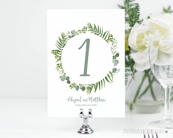 Forest Leaves Printable Table Numbers