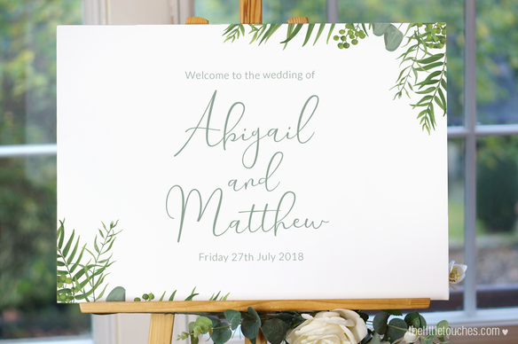 Forest leaves Wedding Welcome Sign