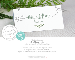forest leaves printable escort name card template