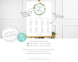 Editable Foliage Leaves Wedding Table Plan Template A2 A1