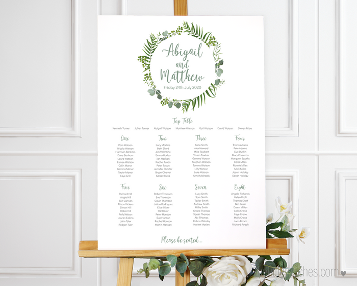 Forest Leaves Printable Wedding Table Plan