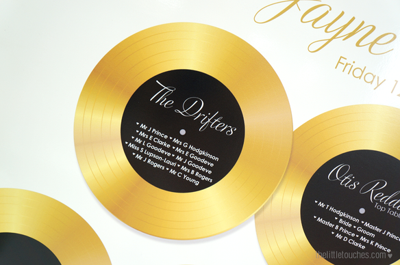 Vinyl Record Music Table Plan (Gold)