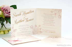 Ivory Rose Square Wedding Invitations