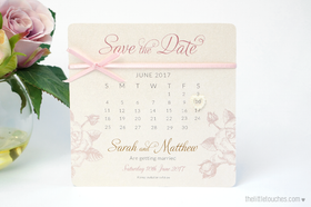 Ivory Rose Calendar Save the Date Cards