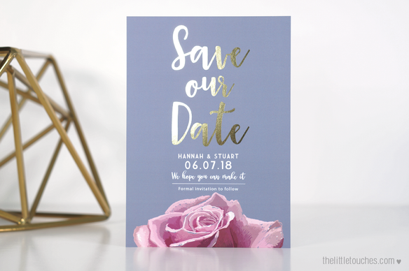 Metallic Rose Save the Date Cards