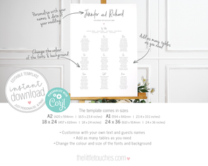 modern wedding table plan / seating chart template