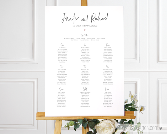 Simple Heart Printable Wedding Table Plan