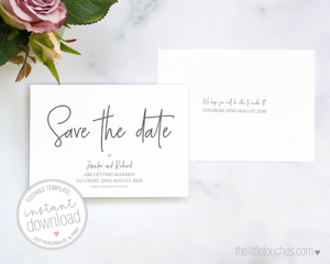 Simple Heart Coloured Printable Save the Date Cards