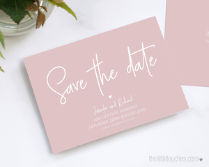 Modern pink wedding save the date card template