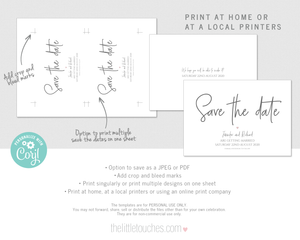 Modern hand written heart wedding save the date card template