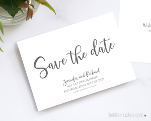 Simple Printable Save the Date Cards