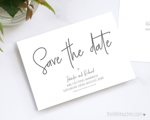 Simple Heart Printable Save the Date Cards