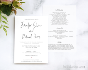 Simple Heart Single Printable Wedding Invitation