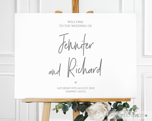 minimal heart wedding welcome sign template
