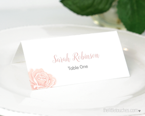 Rose design printable place setting template
