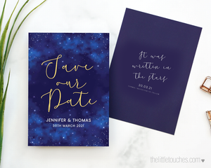 Night Sky - Written in the stars - wedding save the date template