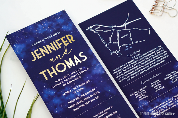 Night Sky Long Evening Wedding Invitations