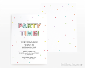 pastel teenage party time invitation template