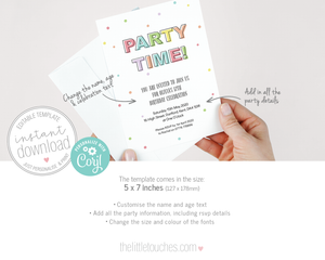 Party time pastel party invitation template