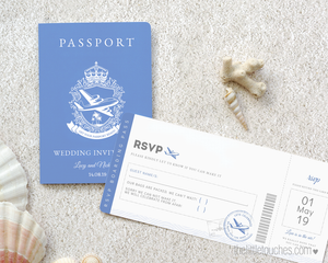 Destination wedding passport invitation template with boarding pass rsvp