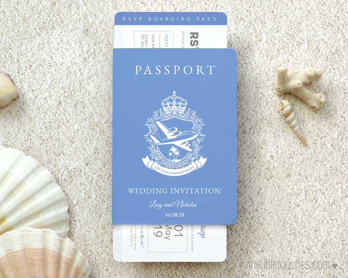 Passport Style Printable Wedding Invitation & Boarding Pass RSVP