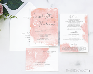 Blush pink water colour wedding invitation templates