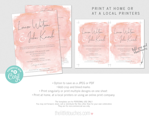 blush pink watercolour wedding invitation template