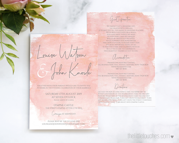 Pink Watercolour Printable Single Wedding Invitation
