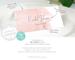blush pink watercolour wedding name cards