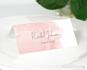 blush pink watercolour wedding place settings