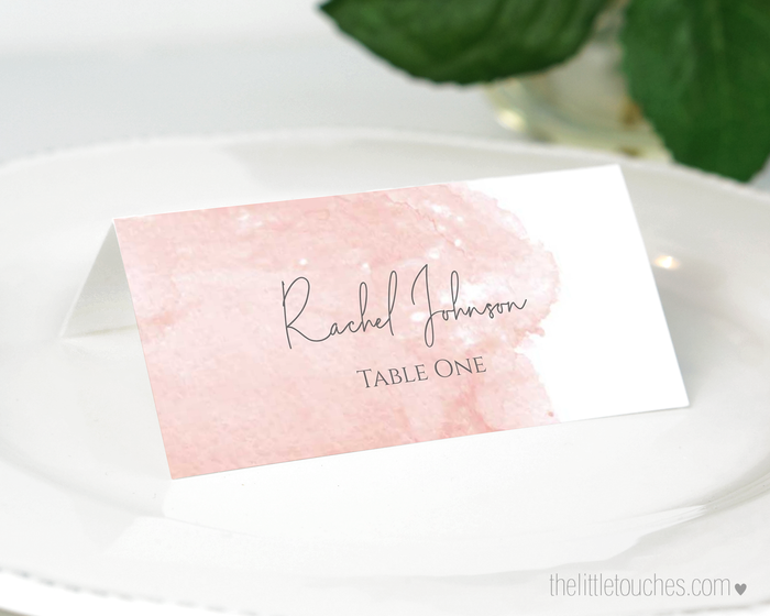 Pink Watercolour Printable Place Settings