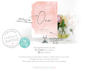 blush pink watercolour table number template
