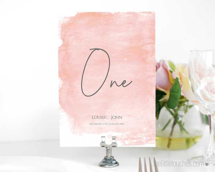 Pink Watercolour Printable Table Numbers