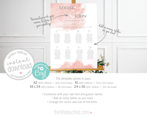Blush Pink watercolour wedding table plan seating chart template