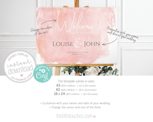 Pink Watercolour Printable Welcome Sign