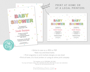 Printable Polka Dot Baby Shower Invitation Template