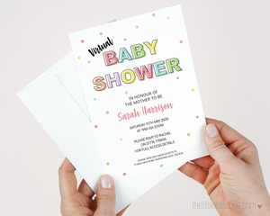virtual polka dot baby shower invitation template