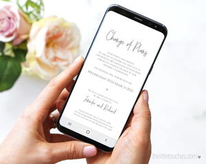 modern change of plan wedding mobile announcement
