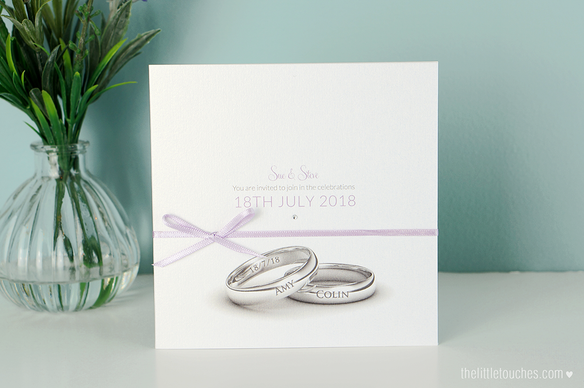 Wedding Ring Invitations with Side Pocket