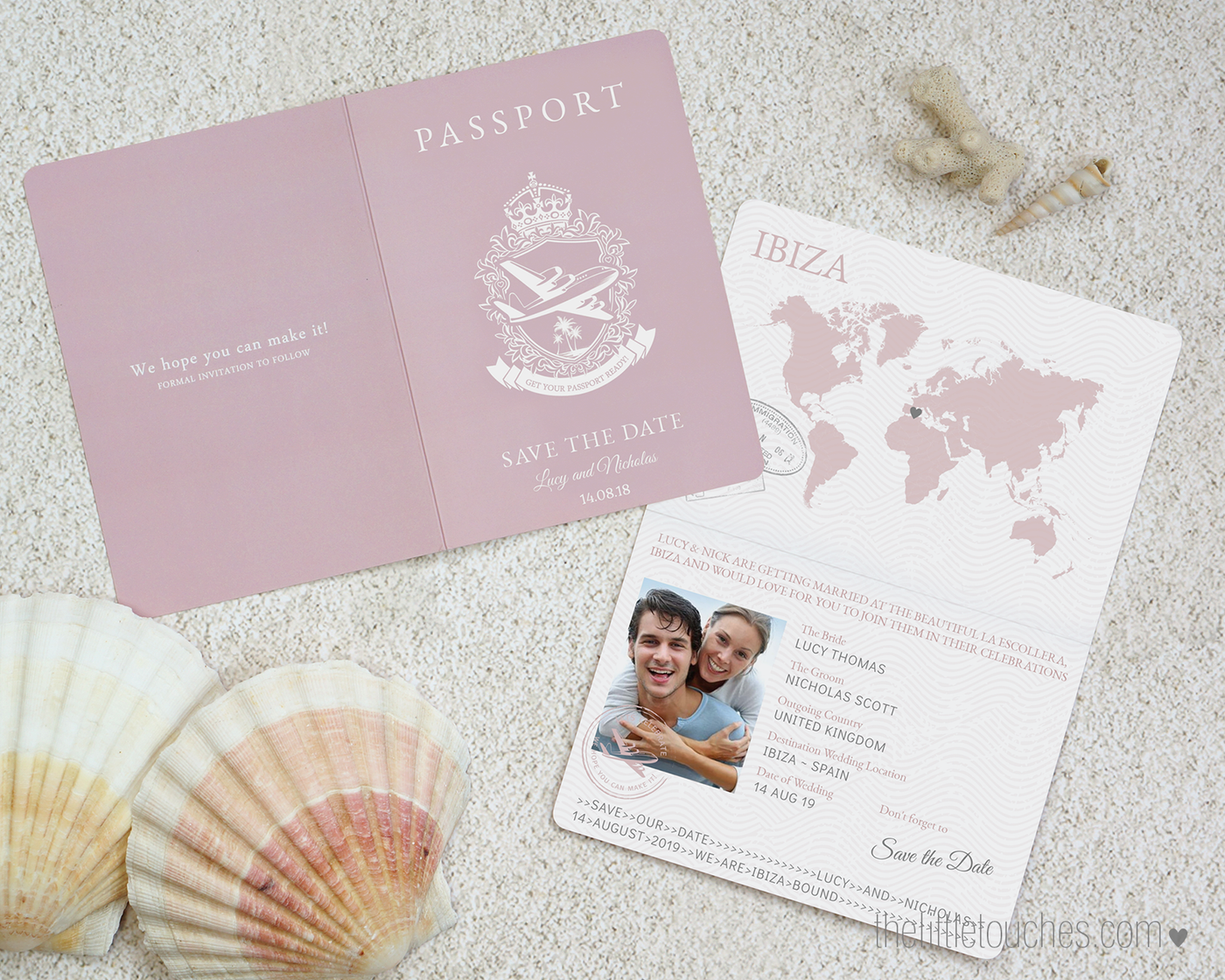 Passport style Printable Wedding Save the Date cards -   Destination wedding INSTANT DOWNLOAD A6 Editable Template