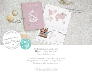 Passport Style Printable Save the Date Cards