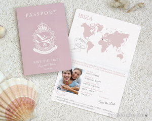Passport style destination wedding save the date printable template
