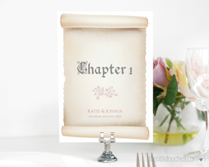Scroll Wedding Table Names / Number templates