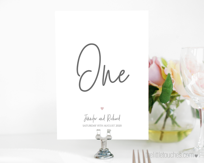 Simple Heart Printable Table Numbers